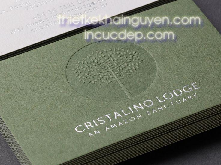 Mẫu danh thiếp ép kim màu bạc trên nền giấy xanh kết hợp dập nổi