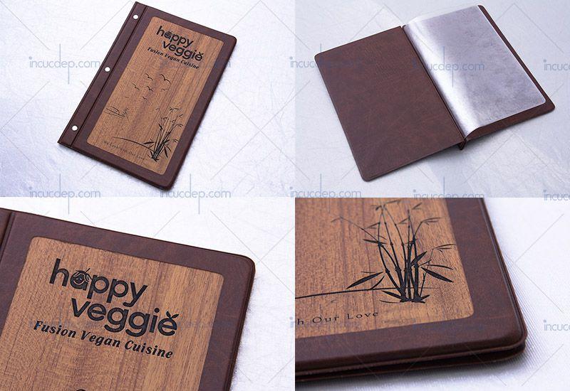 Menu bìa gỗ nhà hàng - menu 1 bìa gỗ sử dụng lá nhựa siêu bền
