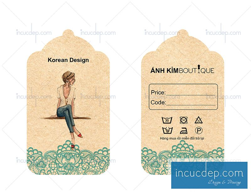 Thẻ treo quần áo in bằng giấy kraft