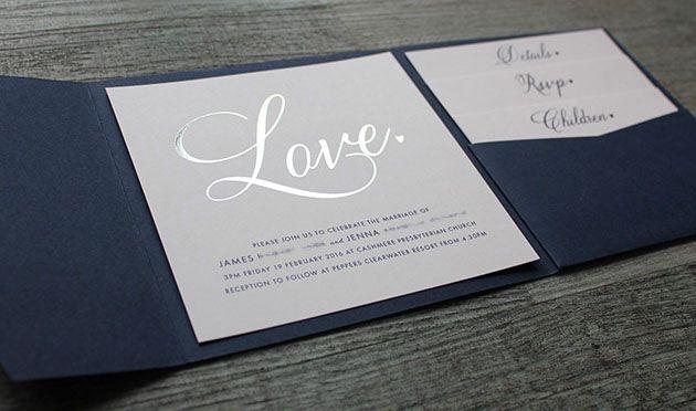 Mẫu thiệp cưới ép kim bạc - kiểu thiệp cưới pocketfold