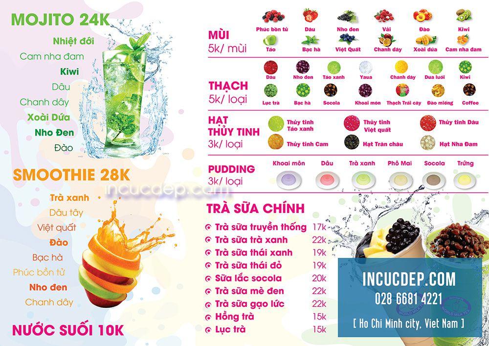 Mẫu menu trà sữa của quán trà sữa WORLD MILK TEA