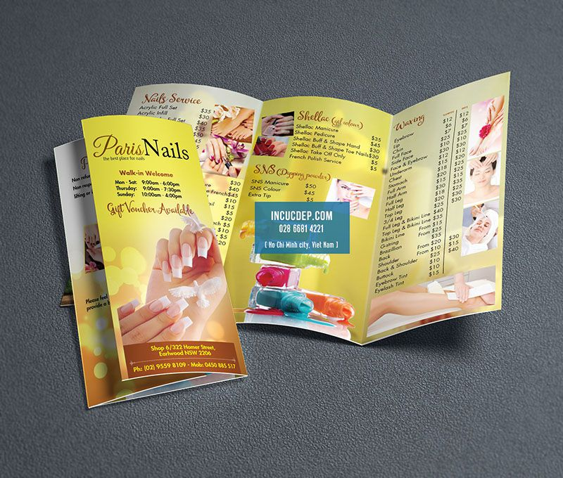 Menu togo Design - mẫu menu togo cho Spa -Nail beauty