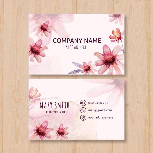 Mẫu thiết kế card visit đẹp sử dụng vector hoa màu nước