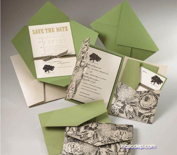 Mẫu thiệp cưới đẹp với thiết kế màu xanh