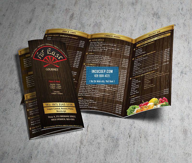 Menu brochure - menu tờ rơi tại Mỹ