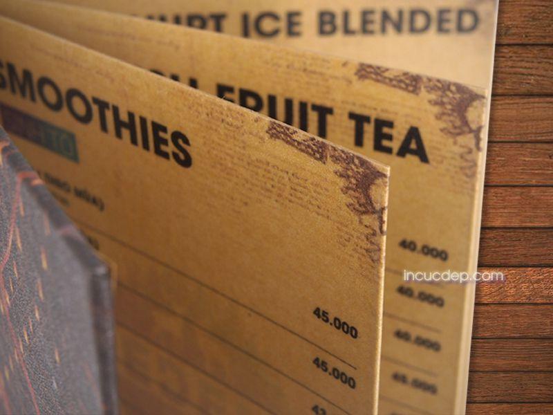 Giới thiệu loại menu bồi gập mép cho quán cafe
