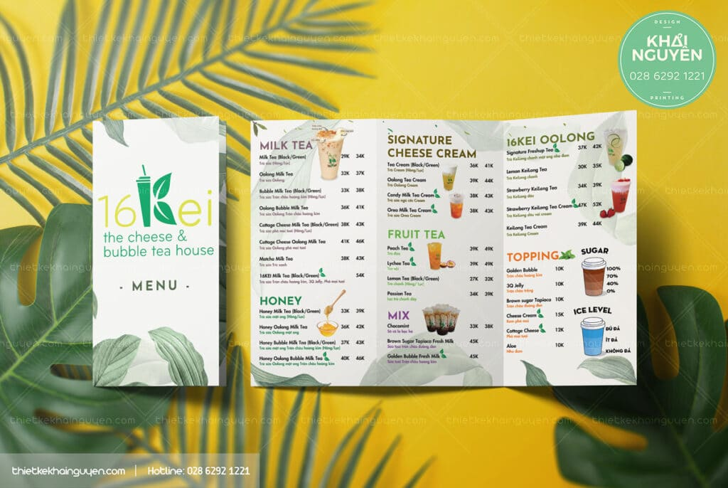 Menu take away trà sữa coffee