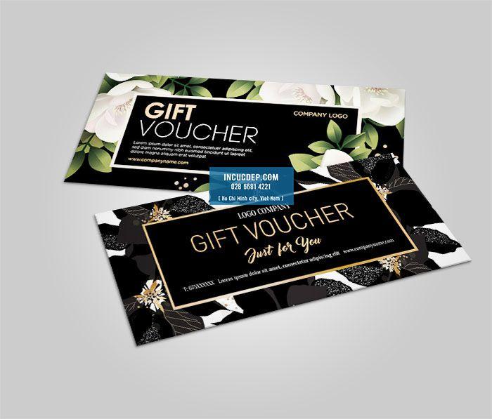 Gift voucher đẹp với cách phối màu đen với vector hoa