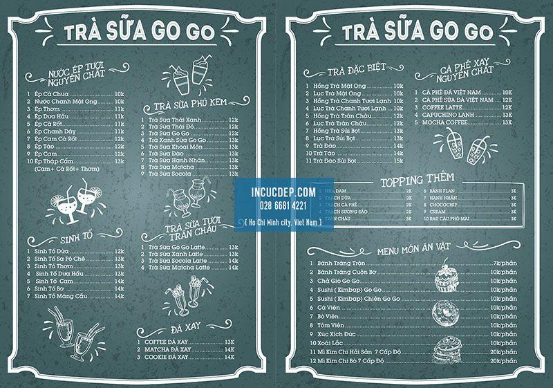 Mẫu thiết kế menu bảng giả bảng phấn xanh