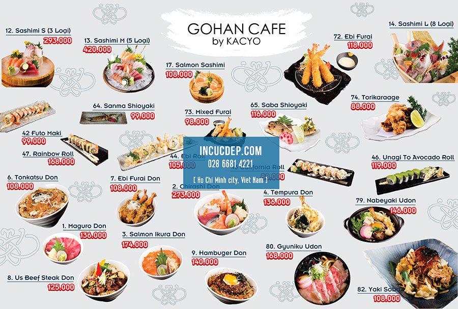 Thiết kế menu bảng cho nhà hàng Nhật