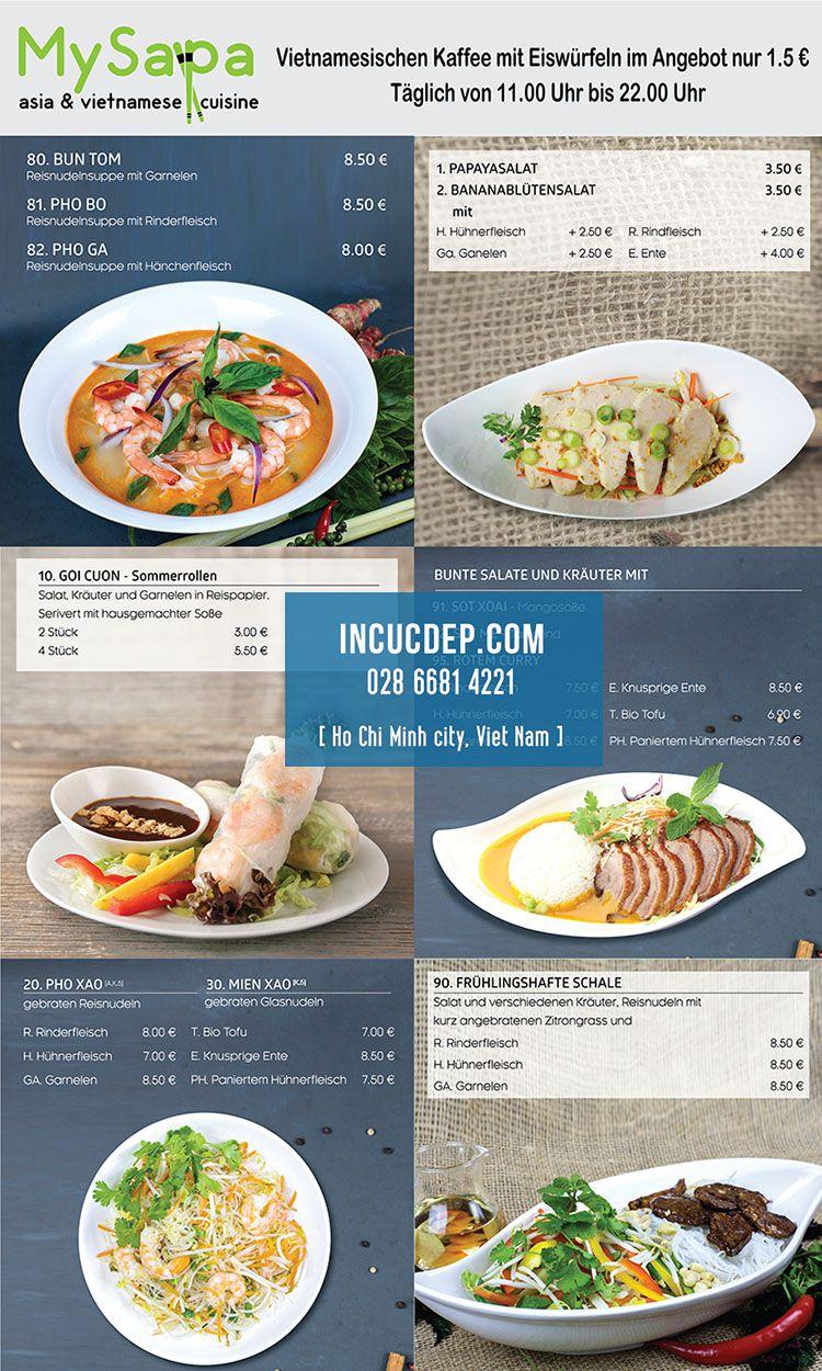 Thiết kế menu bảng nhà hàng theo khổ dọc