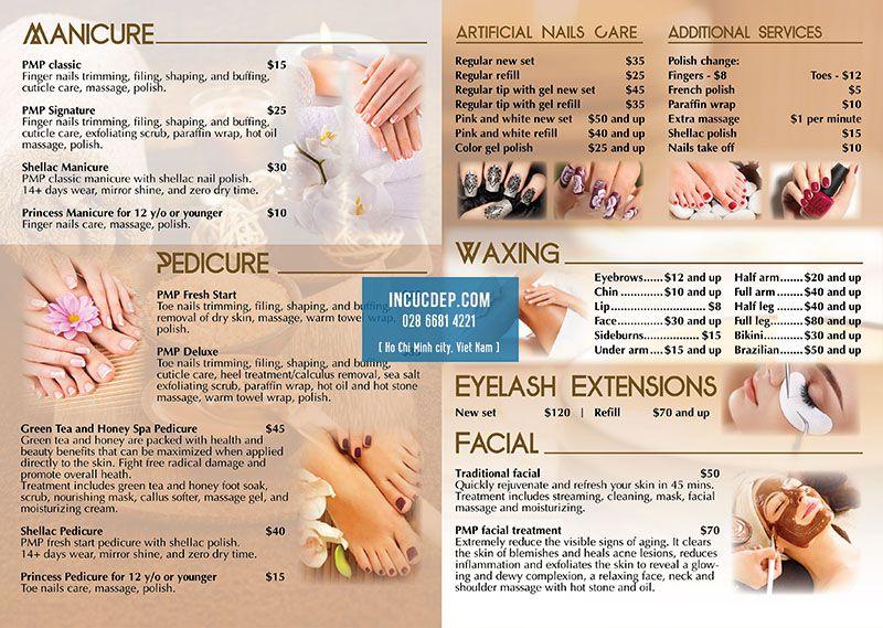 Làm menu bảng cho Nail & Spa