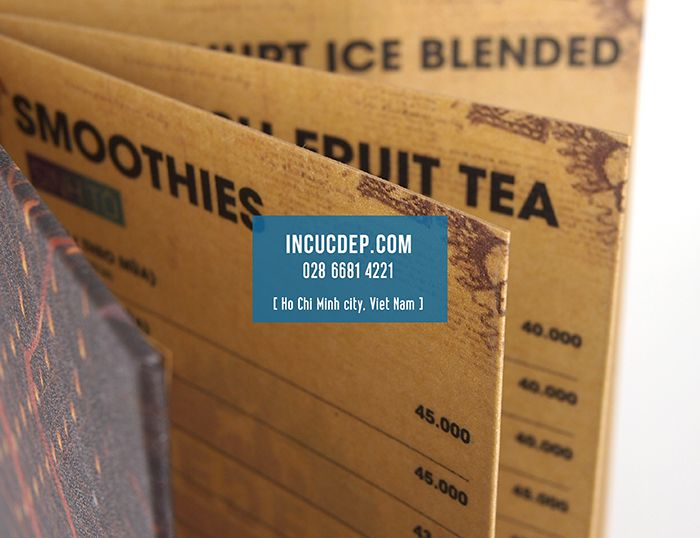 Kiểu menu cà phê bồi gập mép đặc biệt - menu giấy kraft