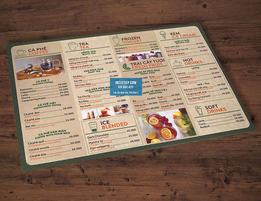 Làm menu quán coffee tại quày