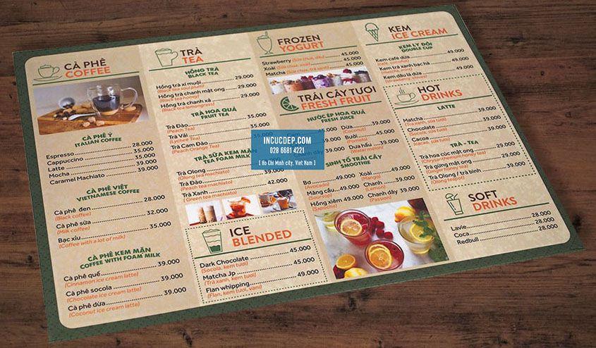 In menu bìa cứng giá rẻ - menu dạng 1 tờ