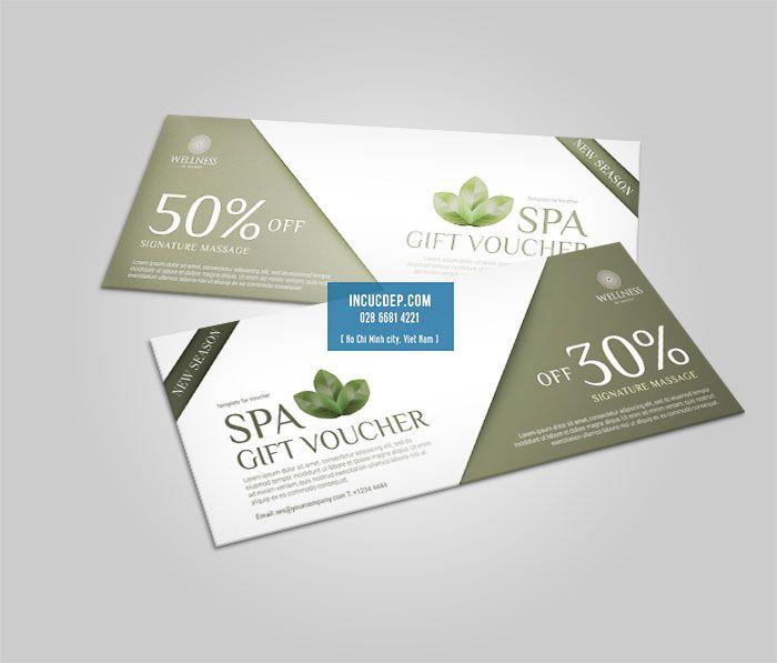 Mẫu voucher Spa với thiết kế đơn giản nhẹ nhàng