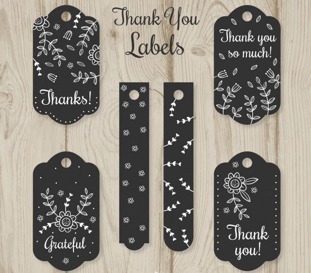 Bộ mẫu thiết kế tag thank you bao gồm 6 mẫu hoa văn khác nhau