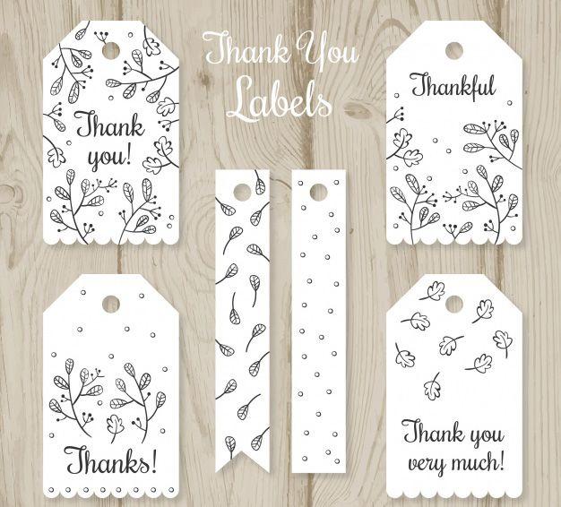 Bộ mẫu thiết kế tag thank you màu trắng