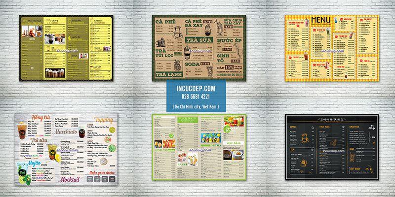 Thiết kế menu A3 - menu bảng A3 quán cafe