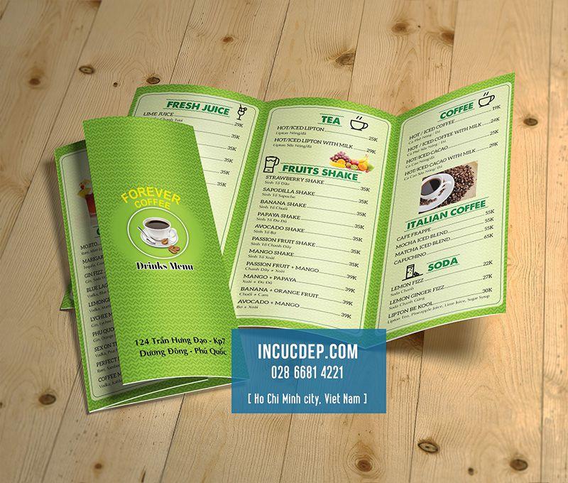 Thiết kế menu tờ rơi cho quán cà phê