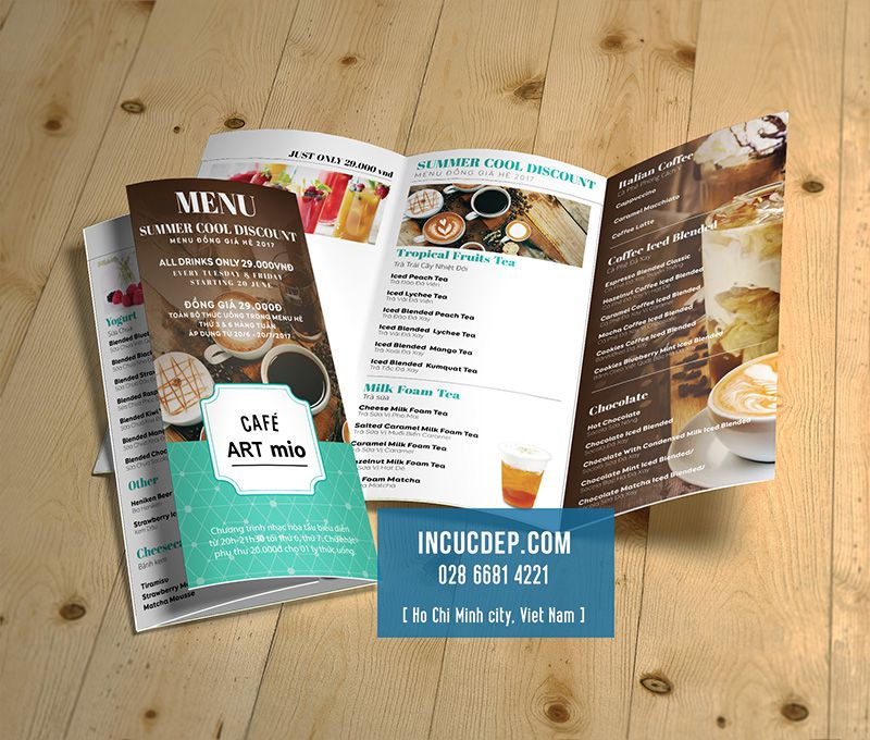 Mẫu thiết kế menu tờ gấp 3 của quán cà phê artmio