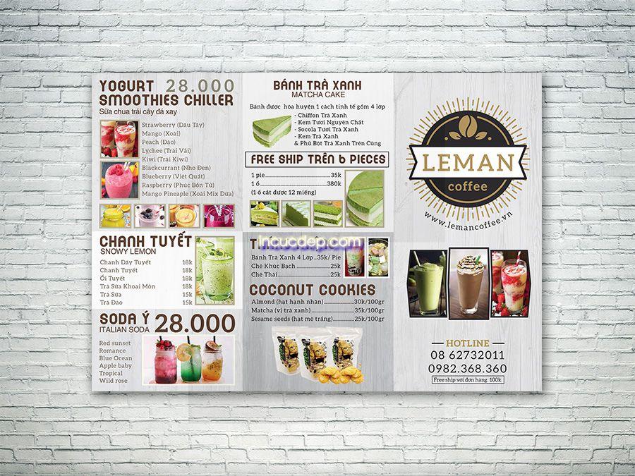 Thiết kế menu A3 - LEMAN Coffee