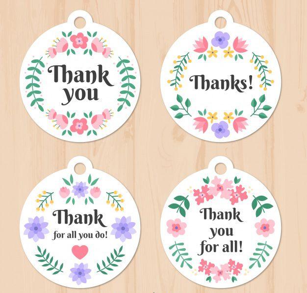 Thiết kế label thank you với hoa văn hoa đặc sắc