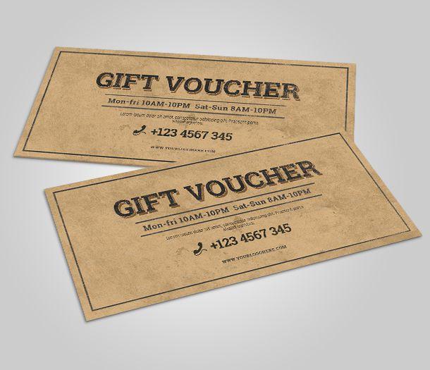 Mẫu in voucher - gift voucher giấy kraft Châu Âu