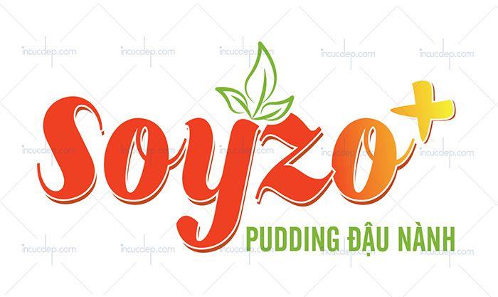 Logo trà sữa kết hợp pudding đậu nành đặc biệt