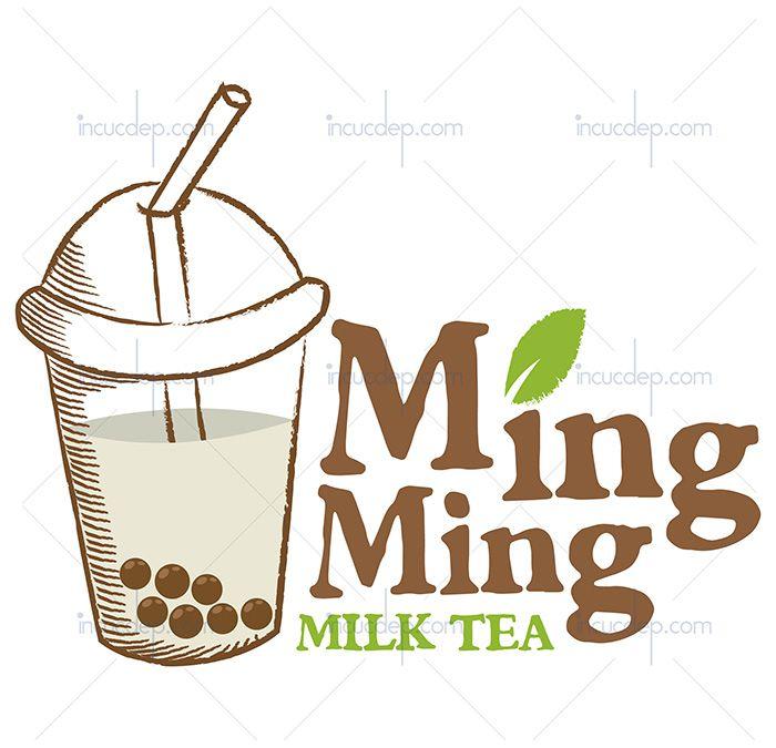 Logo trà sữa đẹp với sự kết hợp ly trà sữa và chữ kiểu