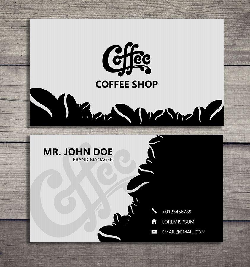 Thiết kế card visit cà phê với 2 màu đen trắng