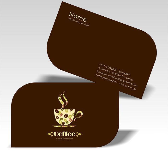Mẫu name card quán cafe thiết kế bo góc chéo