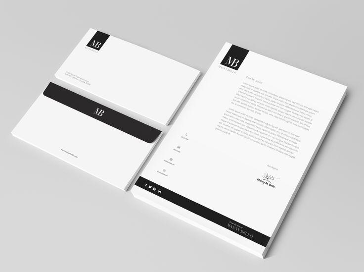 Thiết kế giấy tiêu đề sang trọng với 2 màu đen trắng cơ bản