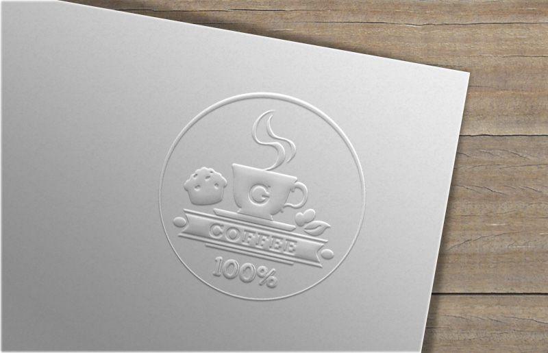 Giới thiệu mẫu logo GUU coffee mockup nổi