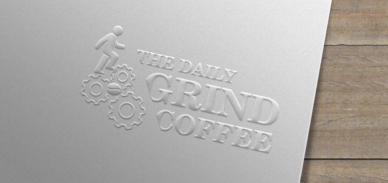 Mẫu thiêt kế logo quán cà phê mockup dập nổi