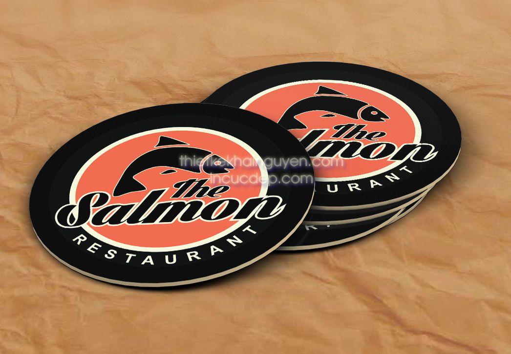 Mẫu lót ly đẹp của nhà hàng Salmon tại Đà Nẵng