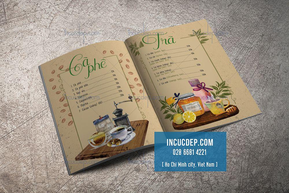 Thiết kế thực đơn phong cách cổ điển - menu cà phê