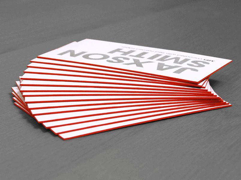 In card visit viền cạnh, viền màu cạnh, ép kim viền màu