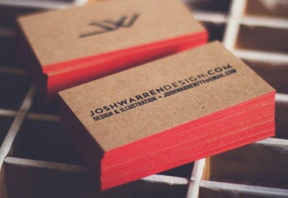 Kết hợp giữa in card visit giấy kraft và viền màu cạnh đặc sắc