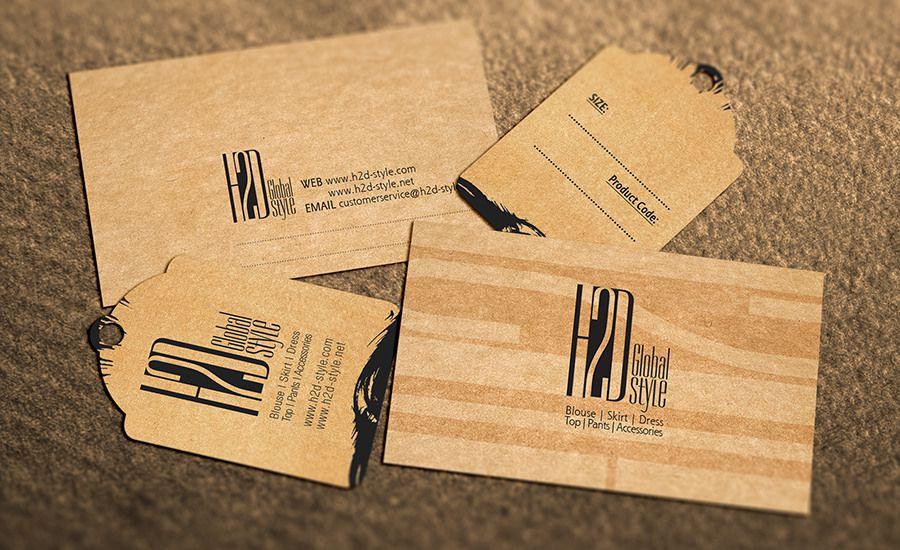Bộ mẫu in thẻ treo kraft cùng với card visit kraft