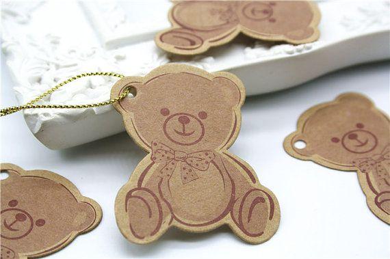 Mẫu in thẻ treo giấy kraft bế hình gấu dễ thương