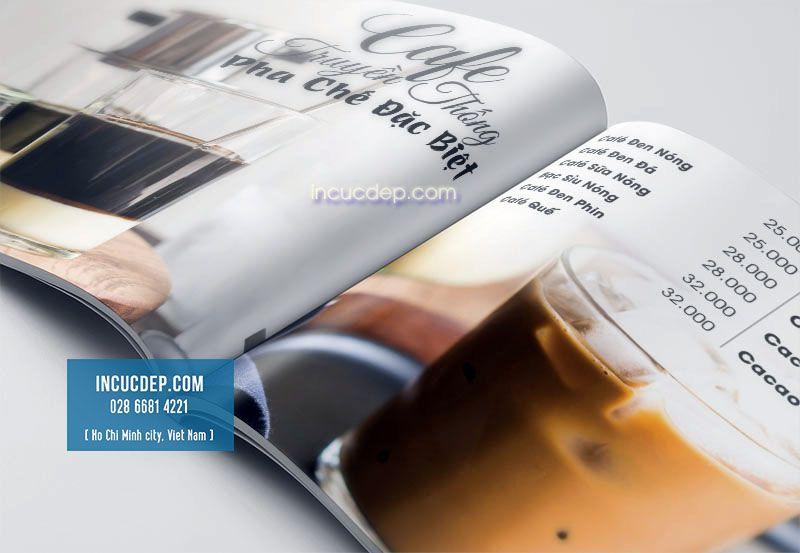 Trang thiết kế menu với các món cà phê
