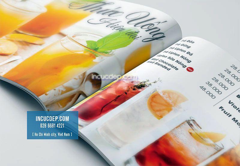 Phần thức uống trong thiết kế menu