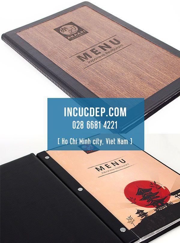 Bìa menu cover từ gỗ & da của nhà hàng Akaari