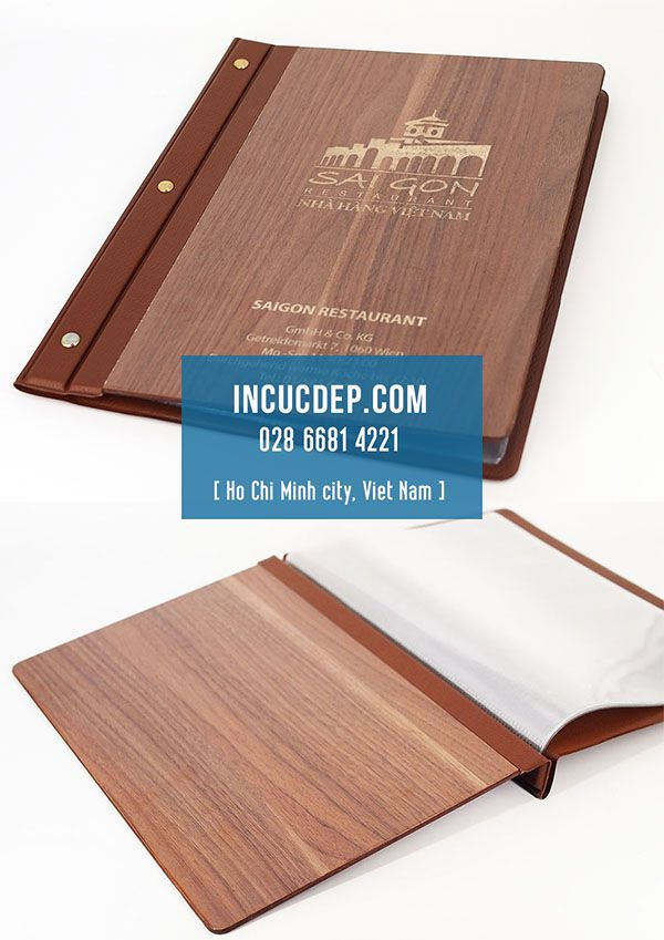 In menu bìa gỗ 2 mặt - menu gỗ nhà hàng