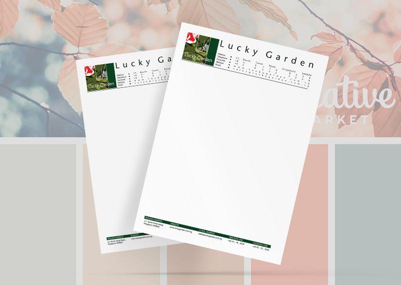 Mẫu thiết kế tiêu đề thư cho nhà hàng LUCKY GARDEN
