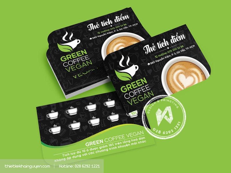 GREEN COFFEE phiếu tích điểm quán cà phê