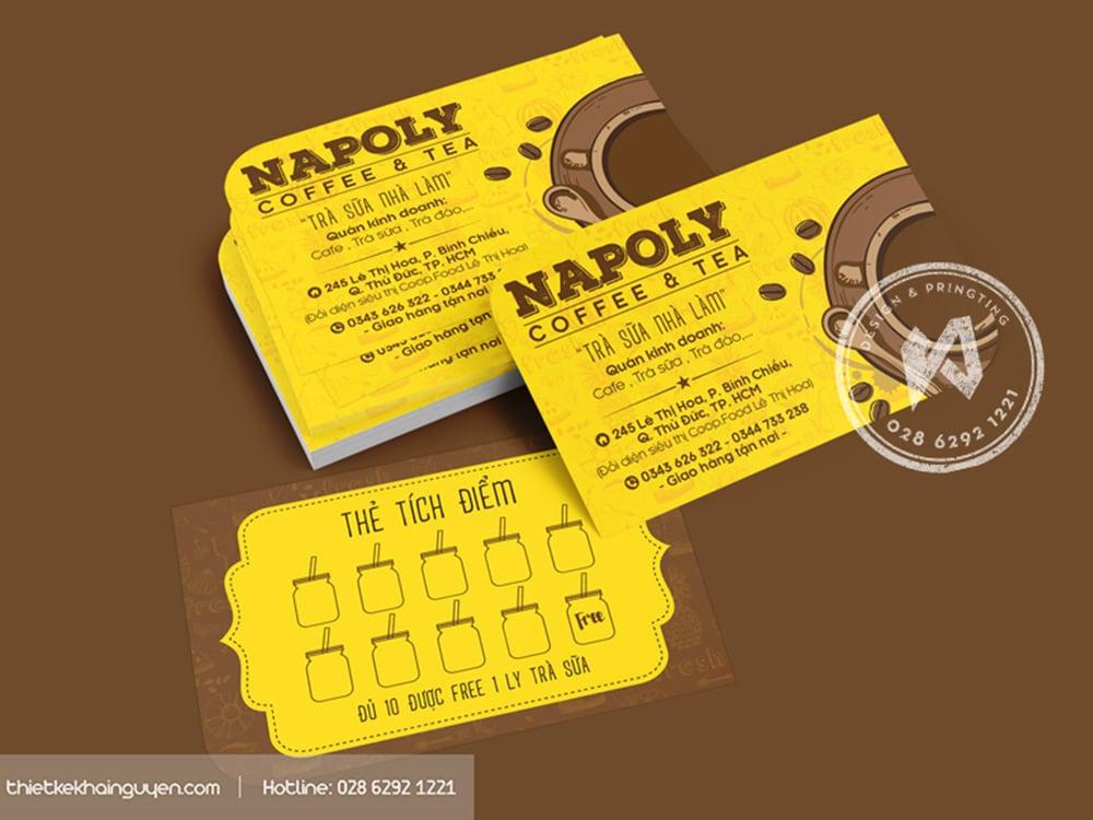 Napoly coffee tea - mẫu phiếu tích lũy điểm dễ thương