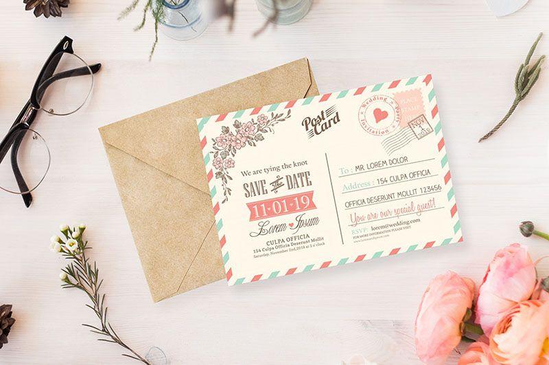 Mẫu thiệp mời dạng post card cổ điển