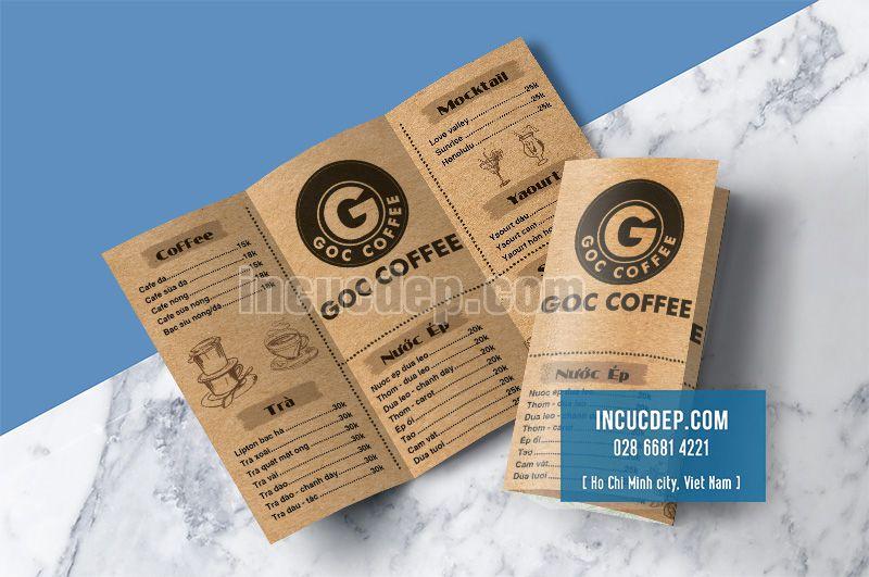Thiết kế menu gấp 3 quán cà phê